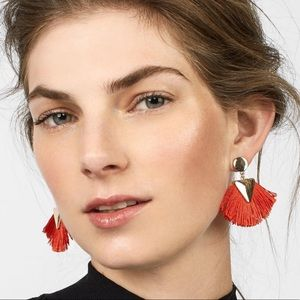 NWT BaubleBar Red Fringe Fan Statement Earrings